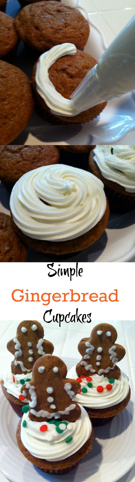 These simple gingerbread cupcakes are so easy to make with a boxed cake mix!