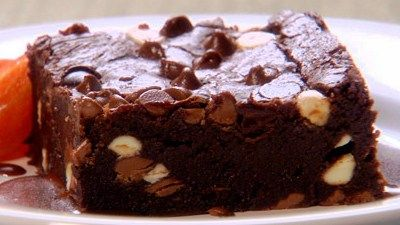 Triple Chocolate Brownies. Recipe by Anna Olson from Fresh. - - Use a 1 x 8-inch square pan to make 9 large brownies or 16 small brownies. You can serve these brownies drizzled with Anna's Decadent Chocolate Sauce. (see site or my board for recipe).