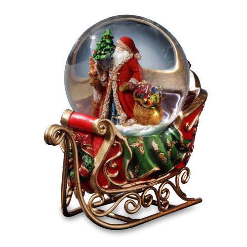 Snowing And Musical Christmas Tree: Santa Musical Snow Globe And Sleigh This 100mm Musical