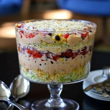 layered cornbread salad...great cold side for cookouts  Wow, a great COOL cold SIDE! Finally found one that looks interesting and good!