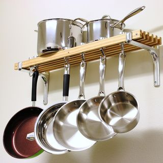 """@Overstock.com - Cooks Standard Wall Mount Pot Rack, 36 by 8-Inch - """" What's in Box: Wall mount wooden Pot Rack length 36-inch, depth 8-inch, include 6 wood track, 4 Pan hooks and 2 Swivel Hooks, made of solid cast aluminum, bracket is made of solid aluminum....  http://www.overstock.com/Home-Garden/Cooks-Standard-Wall-Mount-Pot-Rack-36-by-8-Inch/8268206/product.html?CID=214117 $67.49"""