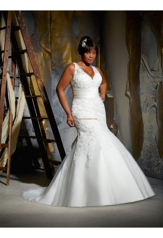 Robe de mariée grande taille dentelle tulle col V