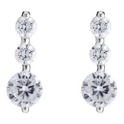 Silver Cubic Zirconia Trilogy Earrings- H. Samuel the Jeweller
