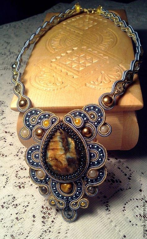 """Сутажное колье """"Северное сияние"""" - золотой,голубой,сутажный комплект,комплект украшений"""