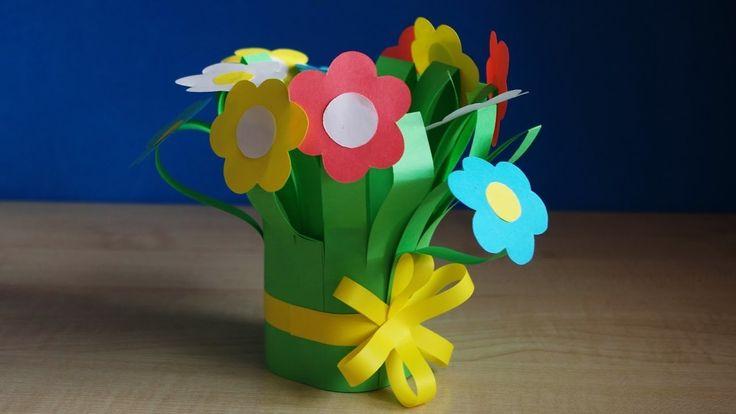 DIY букет для мамы. Цветы из бумаги своими руками. Поделки на 8 марта в детский сад и школу.