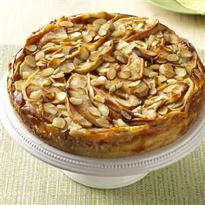 Apple Bavarian Torte Recipe -A cookie-like crust holds the sensational filling of cream cheese, apples and almonds. This comforting torte, will be welcomed addition to a bake sale or potluck.—Sheila Swift, Dobson, North Carolina