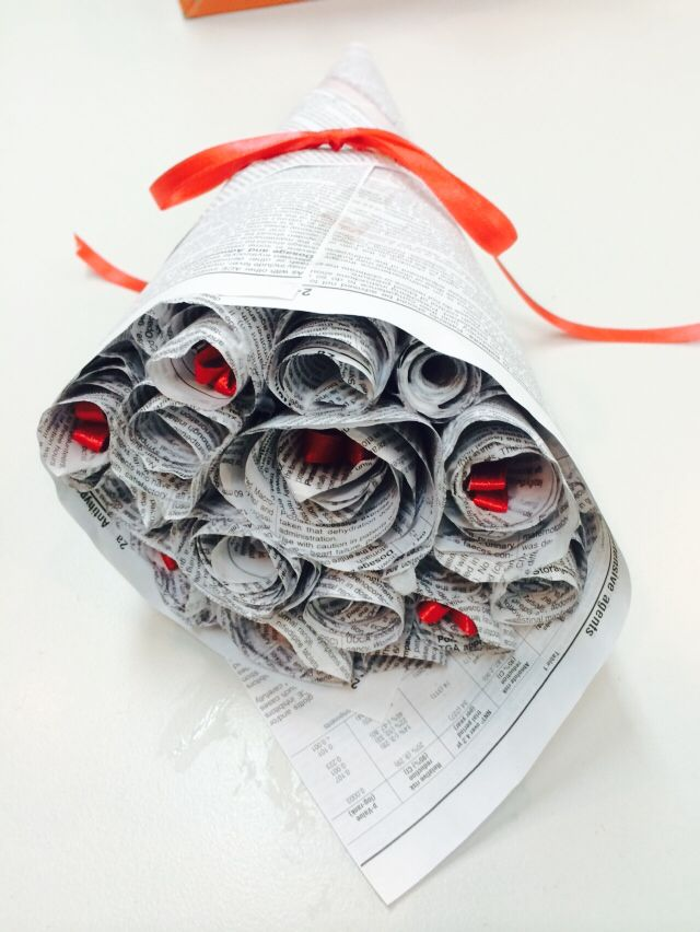 Rose bouquet, upcycled from an old book YMS 2014