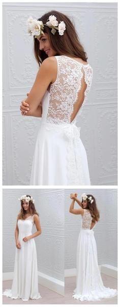 Chiffon Lace Simple Beach Cheap Open Back Beautiful Wedding Dresses