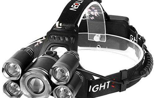 Lampe Frontale Puissante avec 5 LED de 8000 lumens, Lampe Torche LED Zoomable et Étanche avec 2 x 18650 Batterie Rechargeable de Protection…