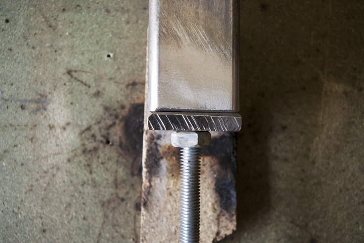 A small jig to ensure the leg bases are welded in the correct position