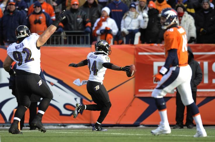 Baltimore Ravens v. Denver Broncos.   Ravens won 38-35 in overtime of an AFC divisional playoff NFL football game, Saturday, Jan. 12, 2013, in Denver.