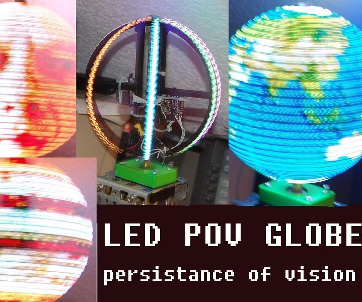 I've always wanted to make one of these POV globes. But the effort with all the soldering of LEDs,wires etc. has deterred me because i'm a lazy person :-) There has to be an easier way ! In this instructable i will show you how to build a POV globe with less electronic parts than other projects. The reason is the use of the adressable LED strips APA 102. This stripes don't need any driver electronic and can be directly connected with only 2 wires to a microcontroller. The state of...