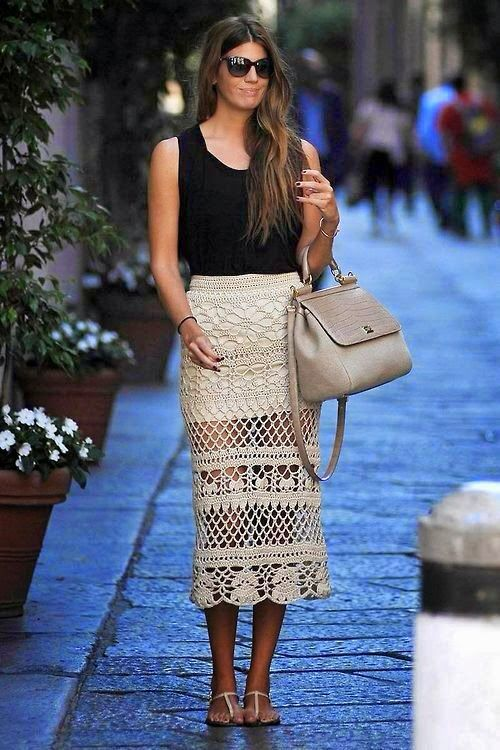 Blusas de Crochet | Skirt fashion, Crochet skirts, Crochet skirt pattern