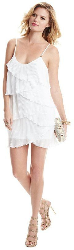 $94, White Pleated Chiffon Party Dress: GUESS by Marciano Alani Dress. Sold by GUESS by Marciano. Click for more info: https://lookastic.com/women/shop_items/230560/redirect