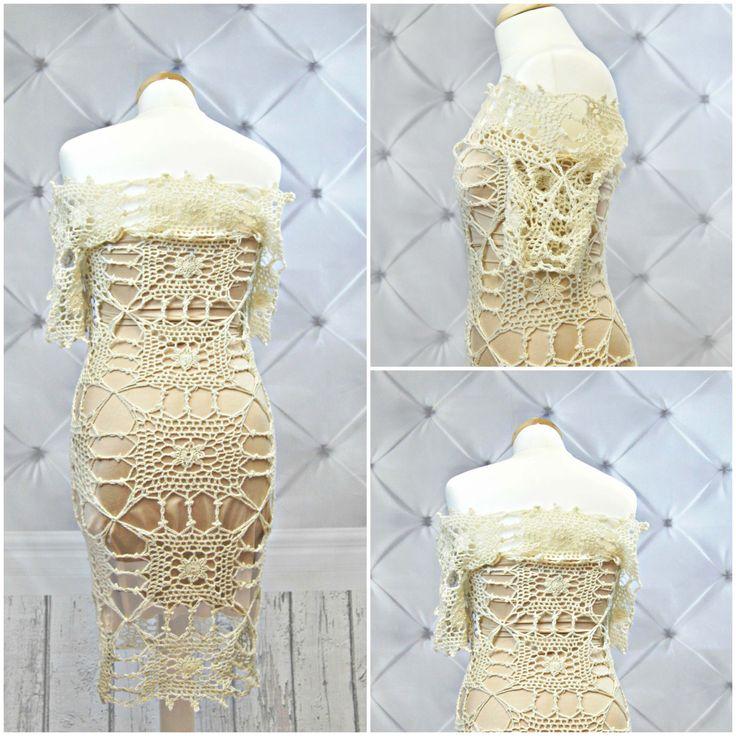 Off-shoulder CROCHET Wedding Dress PATTERN.Crochet Pattern.Crochet dress Pattern.Bohemian crochet dress pattern.Patterns. Ivory dress. by NinElDesign on Etsy