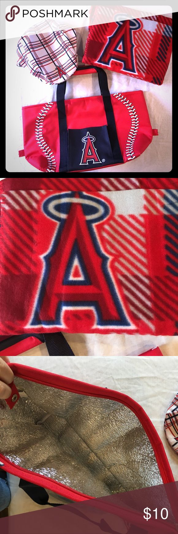🌻final price!!! MLB Anaheim Angels bundle Newsboy style hat, cozy blanket, and insulated bag with zipper. All are brand new without tags. I ❤️ reasonable offers! Other