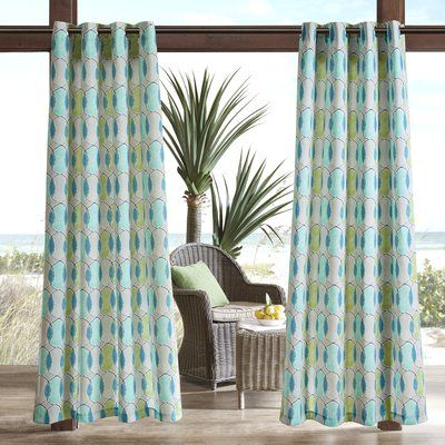 "Zipcode Design Dahlia Printed Circles 3M Scotchgard Outdoor Single Curtain Panel Size: 54"" W x 95"" L, Color: Blue"