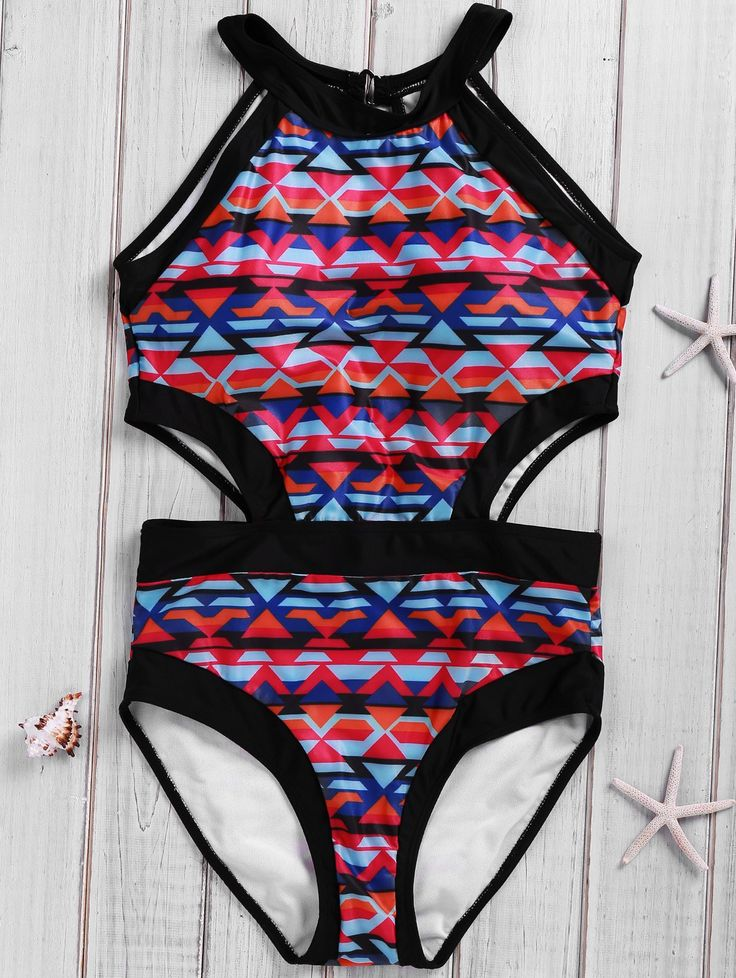 Fashionable Plus Size Cut Out Geometric Print Swimwear For Women