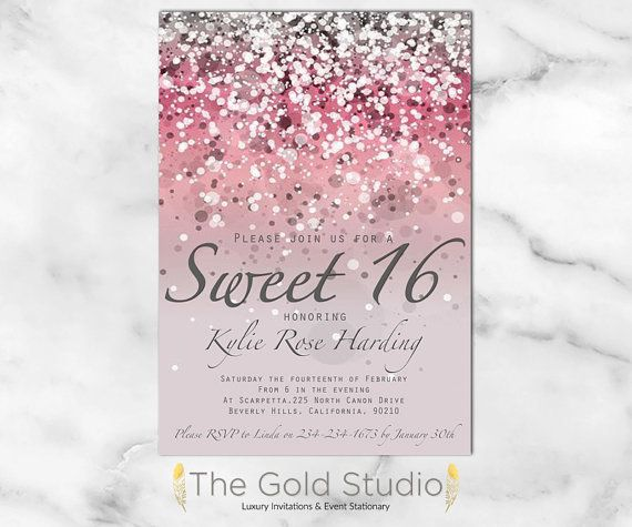 Sweet 16 invitation Sweet sixteen Pink Glitter invite 16th