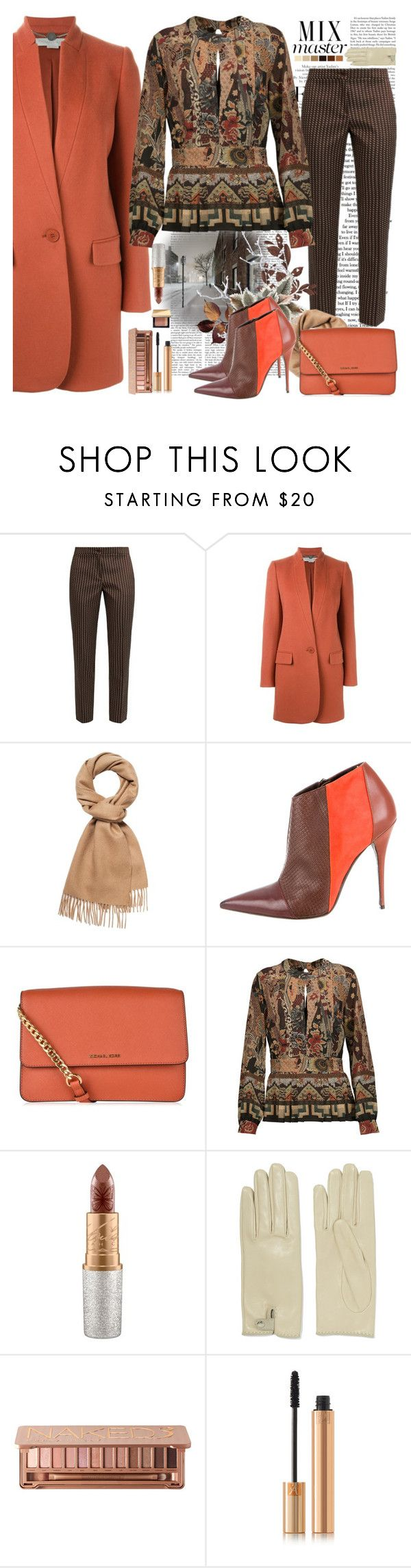 """""""Etro - Pleated Printed Silk Crepe De Chine Peplum Blouse"""" by the-wardrobe-of-wishes ❤ liked on Polyvore featuring Libertine, Etro, STELLA McCARTNEY, Narciso Rodriguez, MICHAEL Michael Kors, MAC Cosmetics, Seed Design, Causse, Urban Decay and Yves Saint Laurent"""