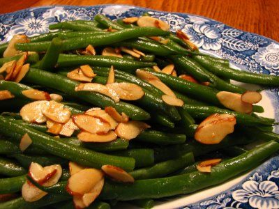 Green Bean Almondine.  I steamed the beans as opposed to cooking directly in water. Easy, good and a classic side. ***1/2