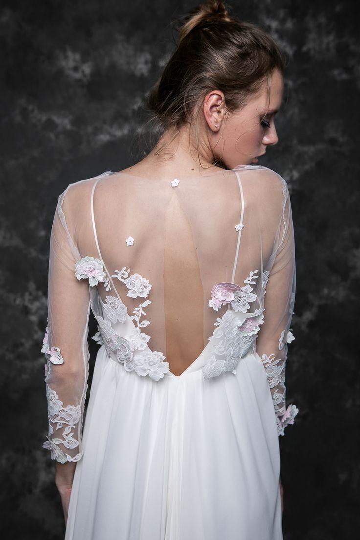 Pureza Mello Breyner Atelier - bridal boho dress in silk crepe and embroidered lace modern french lace bride dress #bride #modern #lace #cotton #silk #romantic #bridal #dress #designer #satin #handmade #by #measure #back #details #open #wedding #boho #pink #wedding