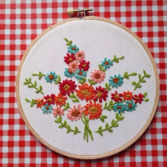 Floral Bouquet embroidery hoop by itsonlyyou
