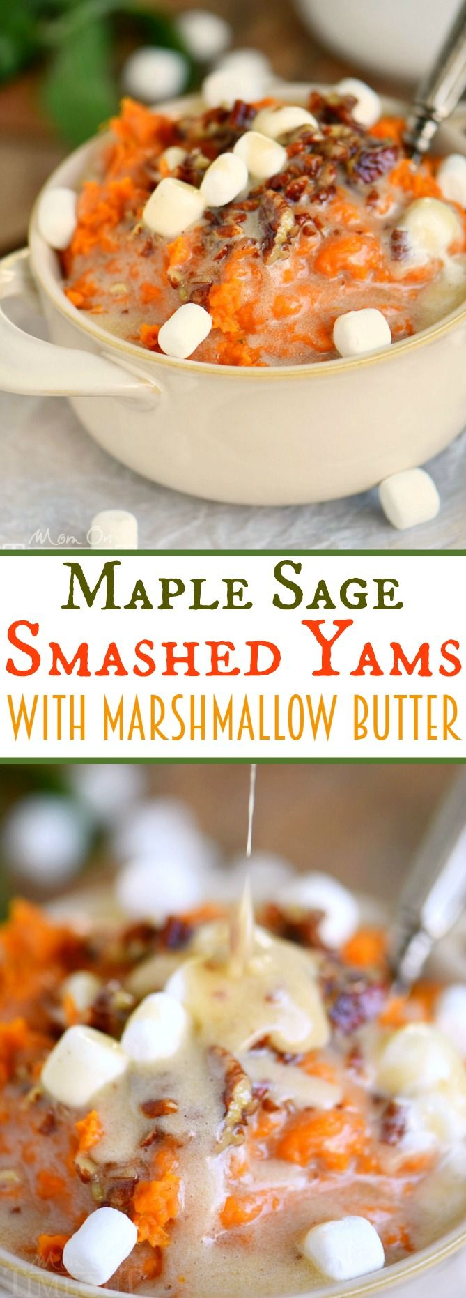 Maple Sage Smashed Yams with Marshmallow Butter - the side dish everyone will be yammering about for days (pun intended)! This easy side dish is packed full of flavor, takes less than 30 minutes to prepare, doesn't require the oven, and can be made ahead of time! You're welcome :)