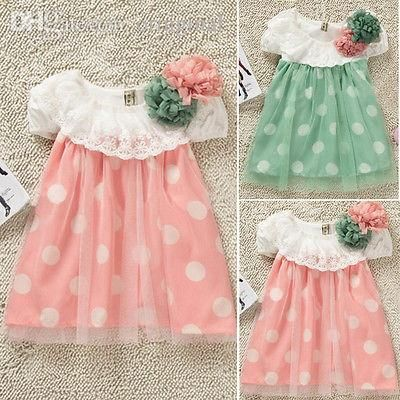 2017 Wholesale Princess Baby Girls Polka Dot Lace Dress Baby Summer Beach Dress Sundress Skirts From Oringinal, $20.56 | Dhgate.Com