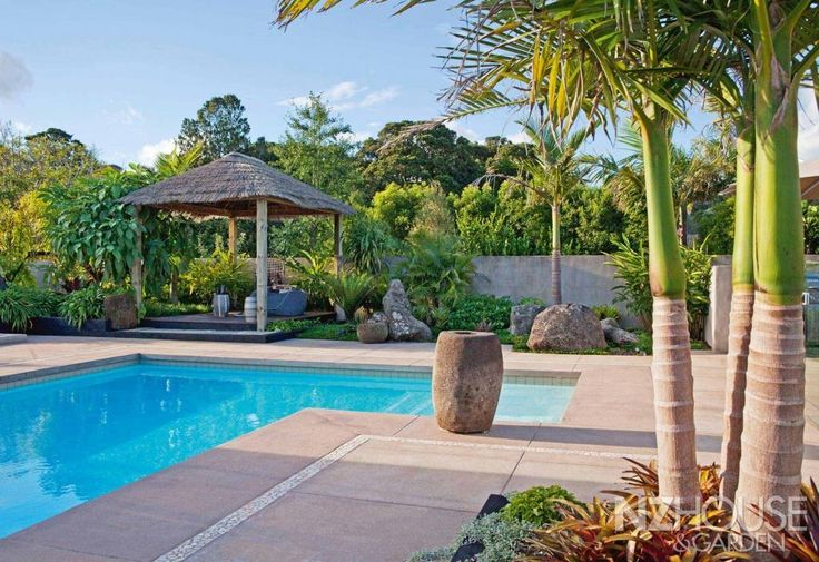 The pool area at this home, 8km west of Whangarei, shows a strong Balinese influence, with planting by subtropical specialist Russell Fransham.