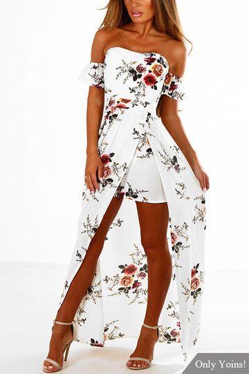 White Off Shoulder Random Floral Print Splited Dress
