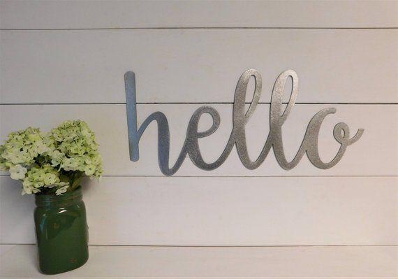 Hello Sign Metal Hello Sign Rustic Word Art Sign Housewarming Gift Idea Hello Sign Word Art House Warming