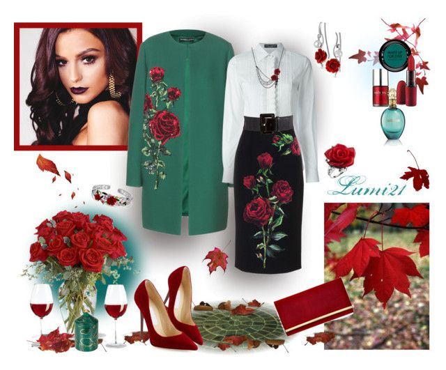 roses in autumn by lumi-21 on Polyvore featuring Dolce&Gabbana, Jimmy Choo, Bling Jewelry, MAKE UP FOR EVER, MAC Cosmetics, Roberto Cavalli, Nails Inc., Fornasetti, dolceandgabbana and jimmychoo