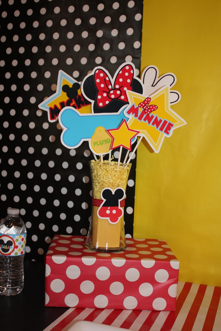Decorations made with downloadable pictures from 'Amanda's Parties To Go'.