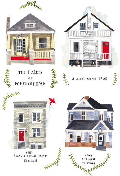 This artist will custom paint a picture of your house. I think these are awesome..now I just need a house