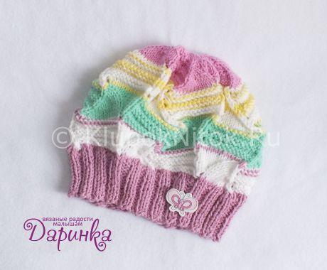 Детская шапочка в яркой расцветке | Вязание для девочек | Вязание спицами и крючком. Схемы вязания.