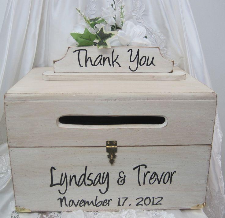 Wooden Wedding Card Box | Large Rustic Wedding Card Box Keepsake Chest Handpainted Antique White ...