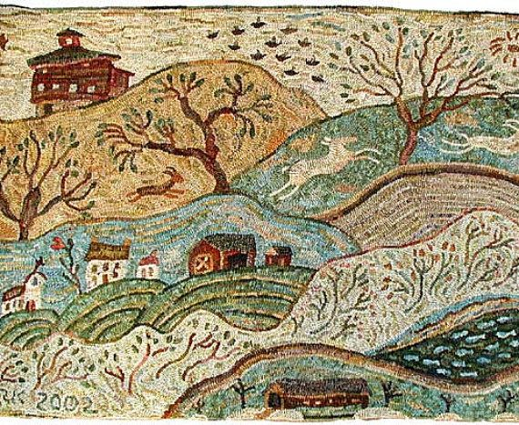 Vermont rug hooking pattern on linen//primitive landscape//Karen  Kahle//barns//church//covered bridge//deer