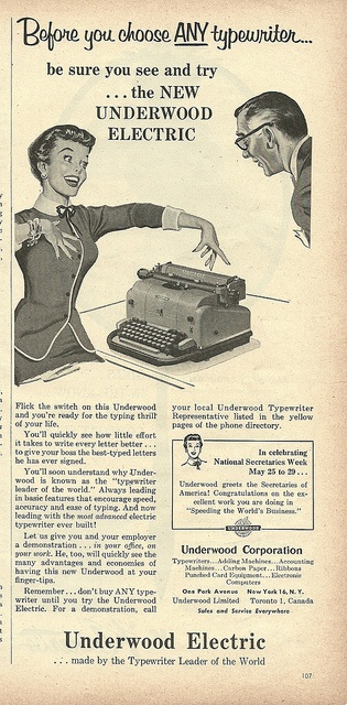 Before you choose any typewriter... #vintage #1950s #office #ads