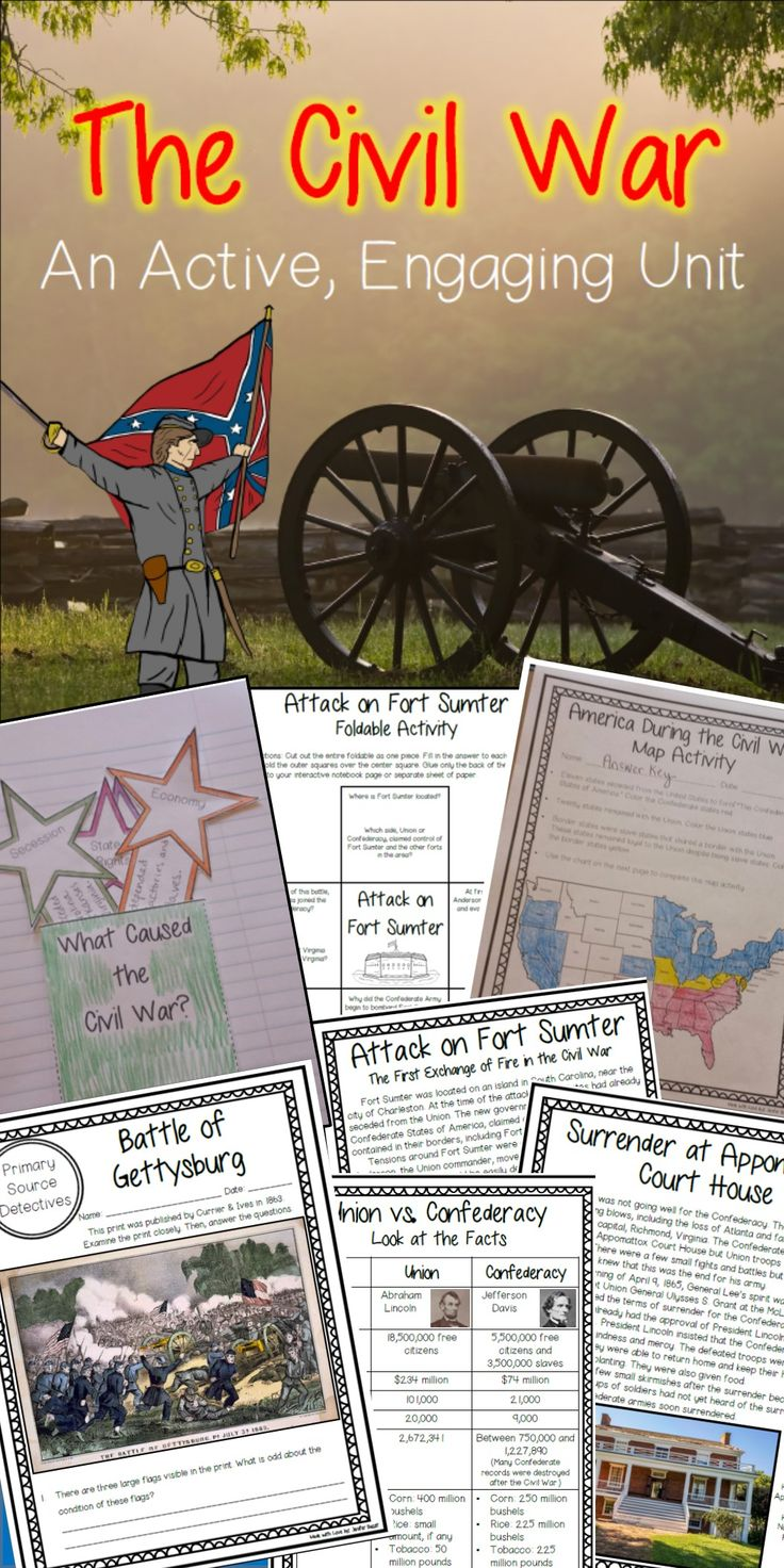 Are you looking for a full and exciting Civil War unit? You've found it! This unit contains a plethora of lesson sheets, primary sources, and activities that will encourage your students to LOVE learning about the Civil War!    There are many foldables contained in this unit for teachers who use interactive notebooks. However, this unit is also perfect for teachers who do not use interactive notebooks.    This is a concise, thorough resource that you can use to replace your textbook or to…