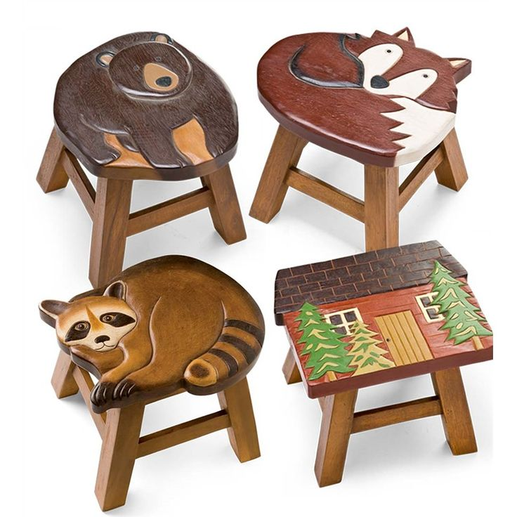 Hand Carved Acacia Woodland Friends Stool $49.95 each | Plow and Hearth