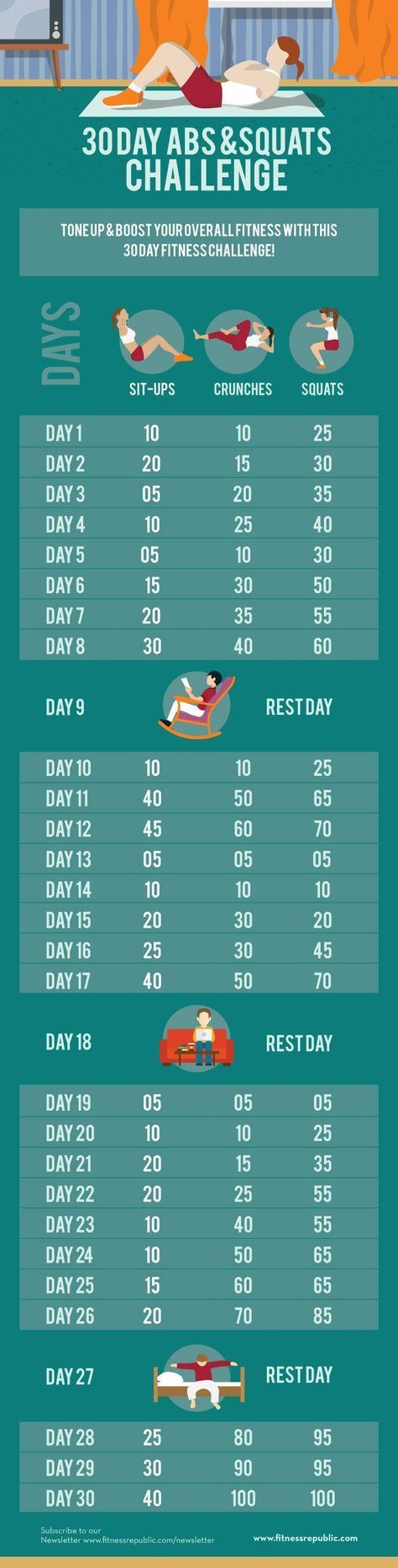 30 Day Fitness Challenge to get butt and gut in gear. Could do this first thing in the morning to knock it out of the way.