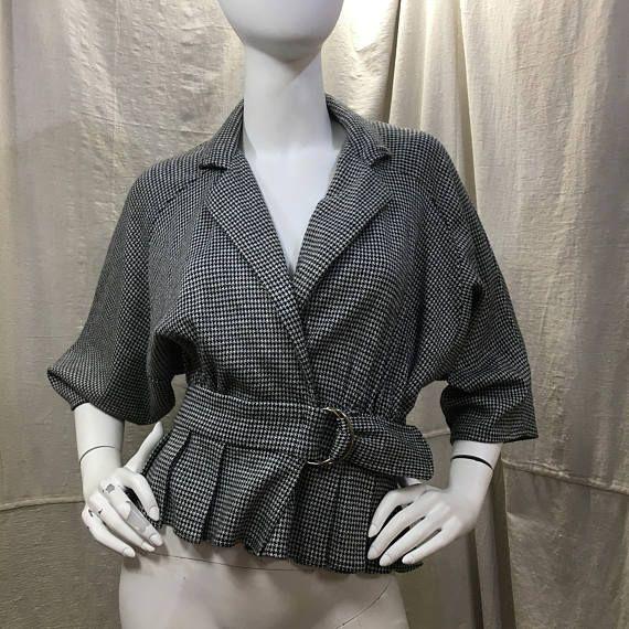años 80 chaqueta Batwing Slouchy pata de gallo / / Vintage mujer recortada chaqueta abrigo Batwing B + W Diamond Run