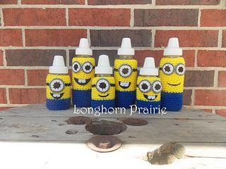 minion bottle covers: Minions Baby, Crochet Projects, Pattern, Crochet Baby Bottle Covers, Crochet Baby Bottle Cozy, April Hubbard, Baby Crochet, Minion Baby, Baby Bottles