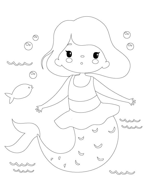 Printable Mermaid Coloring Pages For Kids Mermaid Coloring Pages Easy Drawings For Kids Mermaid Coloring