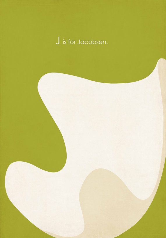 ABC's of MCM J is for Jacobsen Egg Chair Giclee by ShopAmySullivan, $45.00 #arnejacobsen #midcentury