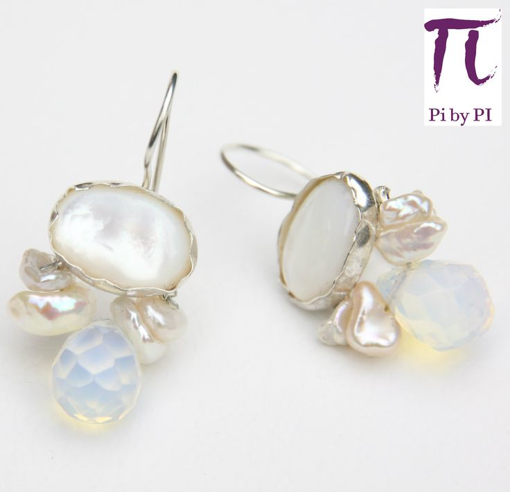 Pendientes de nácar, perlas y lágrimas de opalite engarzadas en bronce y oro gold filled 14k  / This earring have been made with mother pearl, pearls and opalite drops crimped with bronze and gold filled 14k.