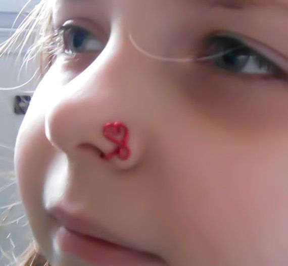 Heart Nose Ring, Fake nose ring, Nose Clip, Faux nose ring, Red nose ring, trendy ring, no pierce, fake body jewelry