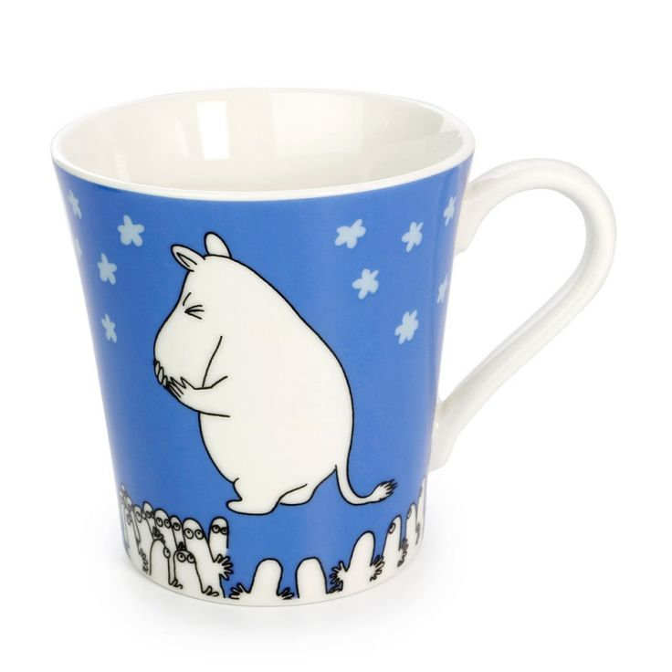 Blue Muumi Moomin Characters Moomin Valley ceramic mug cup wooden house gift box set