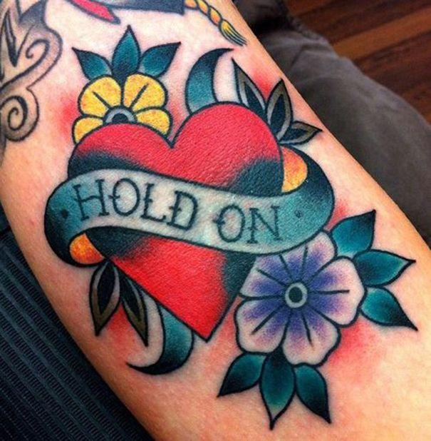 old school tattoo on arm